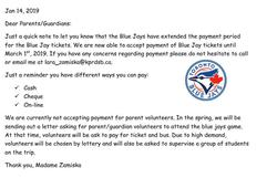 Blue Jays Day- Payment due March 1st, 2019